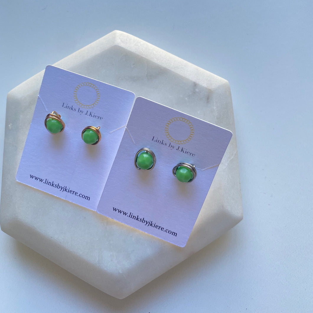 The Morgan Earring in Opaque Green
