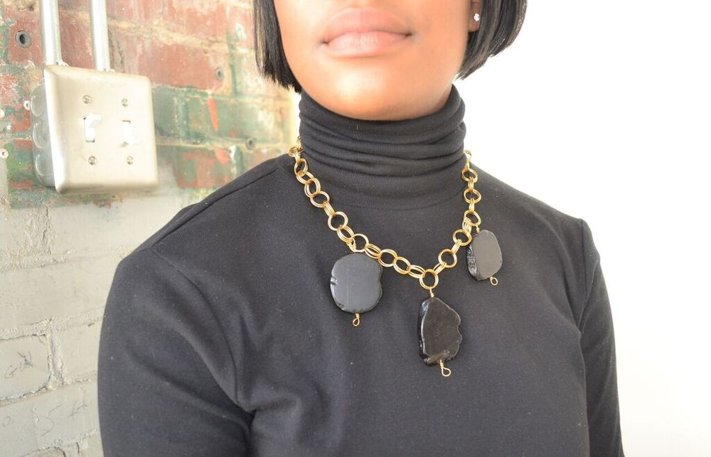 The Kyna Necklace in Black Magnesite