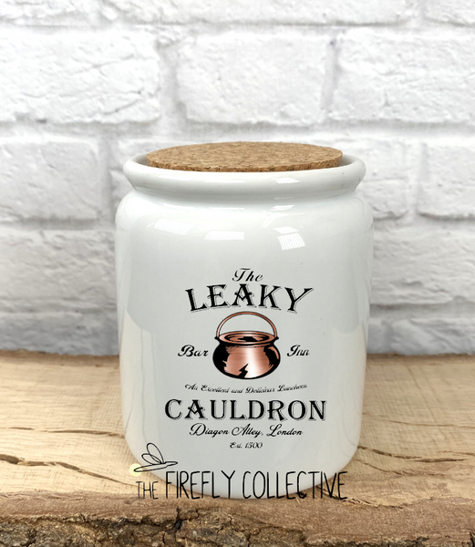 Leaky Cauldron Inspired by Harry Potter Sublimated Treat Jar with Cork Lid