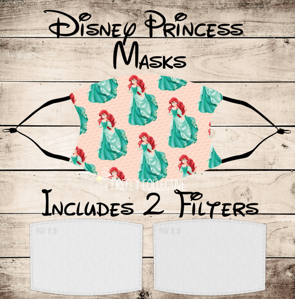 Disney Princess Non-Medical Mask with Black Straps & Filters Sublimated
