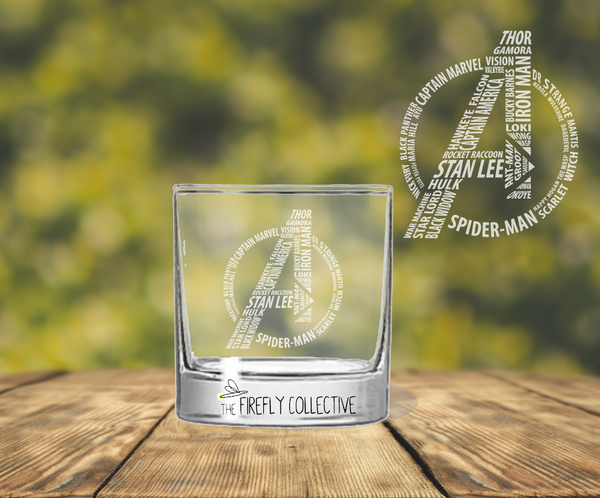 Avengers Logo with Names including Stan Lee Laser Engraved Old Fashion/ Whiskey/ Rocks Glass