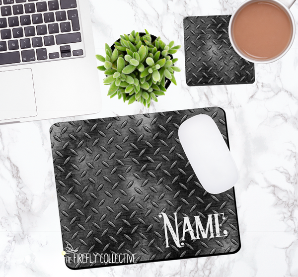 Black Gold Diamond Plate Personalized Mouse Pad