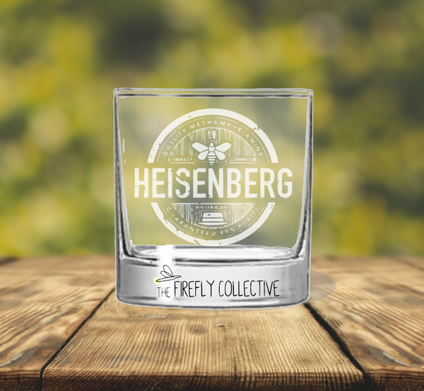 Breaking Bad Heisenberg Laser Engraved Old Fashion/ Whiskey/ Rocks Glass