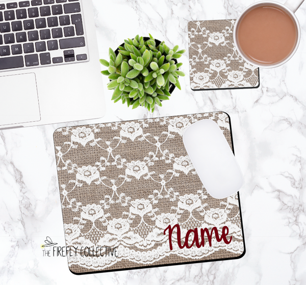Burlap and Lace Personalized Mouse Pad
