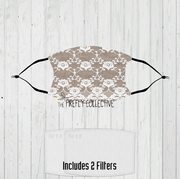 Faux Burlap & Lace Non-Medical Mask with Black Straps & Filters Sublimated