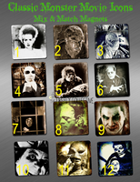 Classic Monster Movie Icons Mix & Match Magnets - Retro Horror, Fight Night Movies