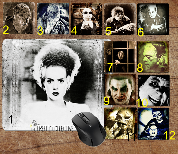 Classic Horror Monsters Icons Mouse Pad  - Frankenstein, Bride of Frankenstein, Mummy, the Raven, Dracula, Werewolf