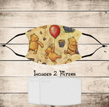 Vintage Classic Pooh & Friends Non-Medical Mask with Black Straps & Filters Sublimated