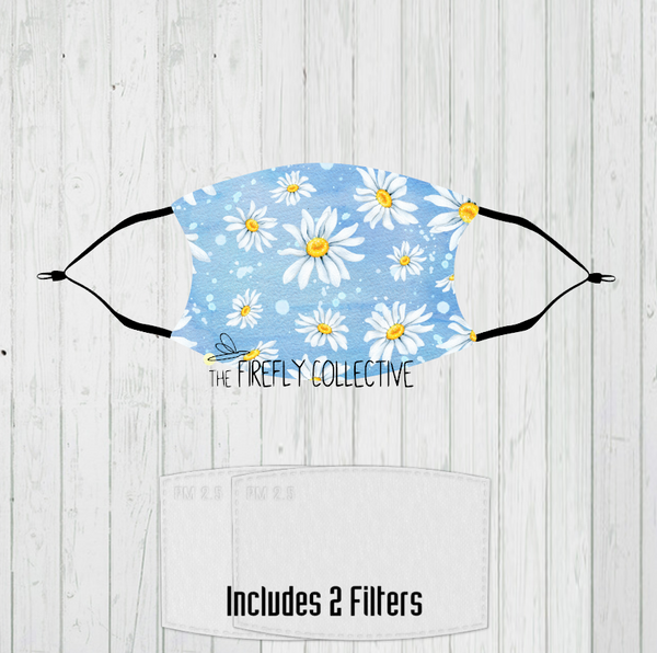 Daisy Non-Medical Mask with Black Straps & Filters Sublimated