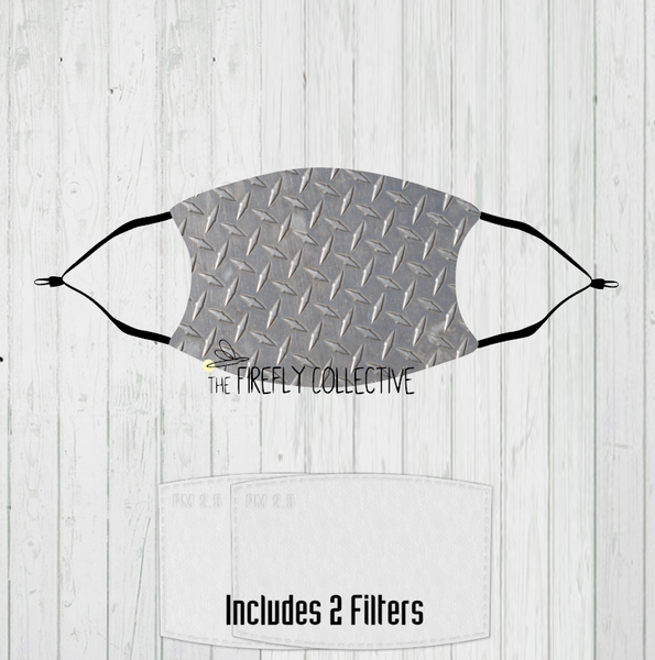 Faux Diamond Plate Non-Medical Mask with Black Straps & Filters Sublimated