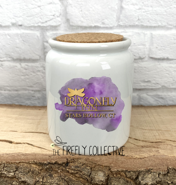 Dragonfly Inn Logo Gilmore Girls Inspired Ceramic Sublimated Treat Jar with Cork Lid