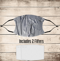 Faux Duct Tape Non-Medical Mask with Black Straps & Filters Sublimated