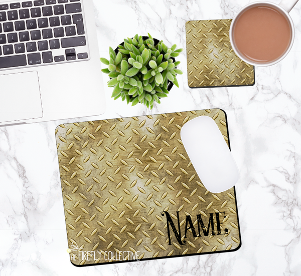 Gold Diamond Plate Personalized Mouse Pad