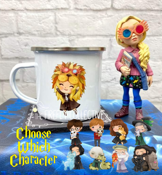 Harry Potter Characters with Animals including Luna Lovegood Wearing her Lion Head Dress Camp Mug