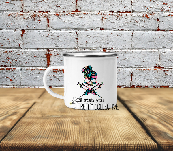 I'll Stab You Nurse Skull and Needles Crossbones Camp Mug Sublimated