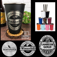 GOT House Inspired Beer Logos Inspired 16oz Laser Etched Stainless Steel Pint Tumblers Game of Thrones, Night's Watch, Winterfell, Lannister
