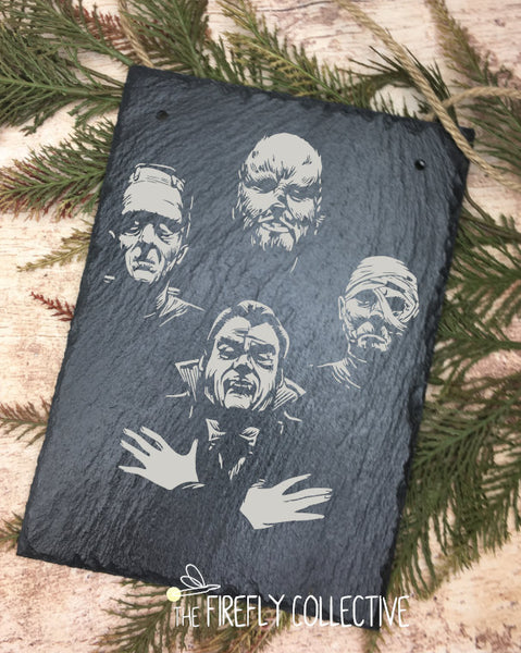 Classic Horror Monster Laser Engraved Sign -Hanging, Slate, Queen, Halloween, Fall, Frankenstein, Dracula, Wolfman, Mummy, Only the Good Die