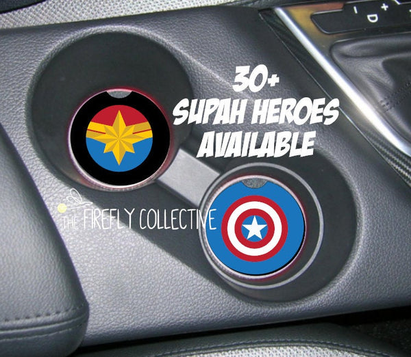 Super Hero Inspired Car Coasters - Mix & Match to Make Your Own Set - Avengers, X-Men, Batman, Superman, DC, Marvel, Cap, Ironman, Panther