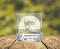 Best Cat Dad / Mom Ever Laser Engraved 10 oz Old Fashion/ Whiskey/ Rocks Glass -Dad Gift, Mom Gift, Pet Dad, Cat Lover, Pet Parent, Cat Mom
