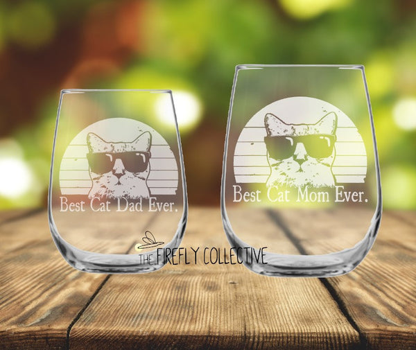 Best Cat Dad / Mom Ever Laser Etched onto a Stemless Wine Glass or Tumbler with Lid -Dad Gift, Mom Gift, Cat Dad, Cat Mom, Pet Parent, Lover