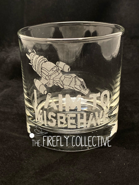 I Aim to Misbehave Firefly Serenity Inspired Laser Engraved Old Fashion/ Whiskey/ Rocks Glass - Browncoats, Capt Mal Reynolds, Scifi, Space