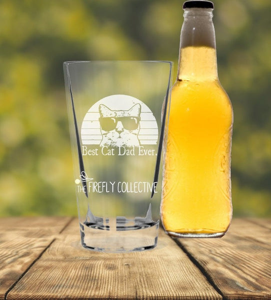 Best Cat Dad Ever or Best Cat Mom Ever Laser Etched onto 16 oz Pint Pub Glass -  Pet Parent, Dad Gift, Mom Gift, Cat Lover, Christmas Gift