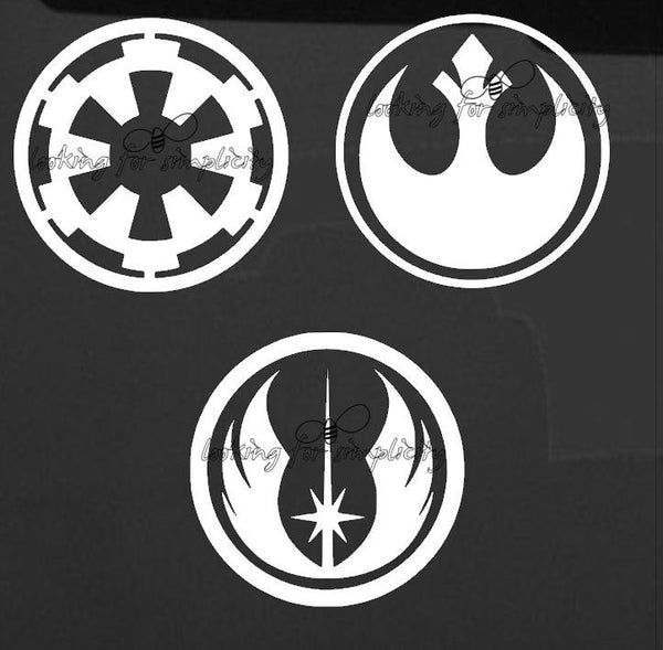 Empire, Rebel and Jedi Emblems Logos inspired by Star Wars Decal /Sticker for windshield, laptop, phone or any other non painted surface