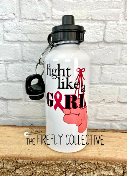 Fight Like A Girl Water Bottle w/ Awareness Ribbon