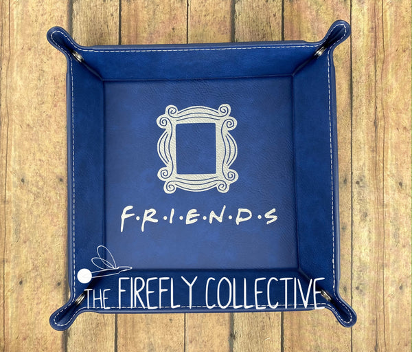 Friends Logo with Iconic Frame Leather Laser Engraved Catch All Dice Snap Tray