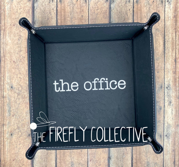 The Office Logo Leather Laser Engraved Catch All Dice Snap Tray