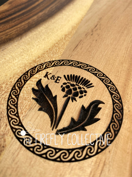 Custom Cheese Charcuterie or Cutting Board Laser Engraved with Your Initial and/or Name