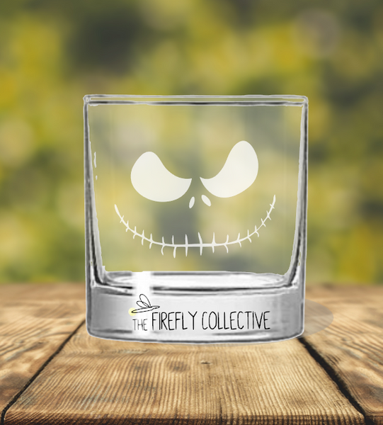 Nightmare Before Christmas Inspired Laser Engraved Old Fashion/ Whiskey/ Rocks Glass - NBC, Oggie Boogie, Jack & Sally, Lock Shock Barrel