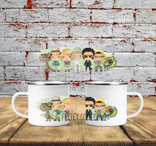 Jurassic Park Character Wraparound  Camp Mug Sublimated