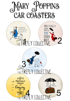 Classic Mary Poppins Inspired Car Coasters