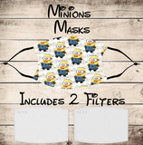 Minions from Despicable Me Non-Medical Mask with Black Straps & Filters Sublimated