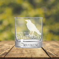 Nevermore Quoth the Raven Edger Allen Poe Laser Engraved Whiskey Rocks Glass