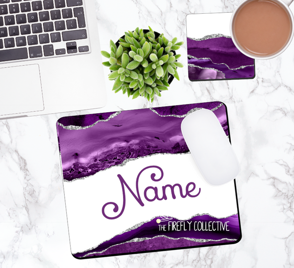 Purple and Silver Agate Marble Personalized Mouse Pad