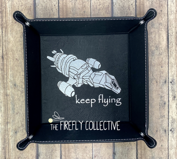 Keep Flying Serenity Firefly Faux Leather Laser Engraved Catch All Snap Tray