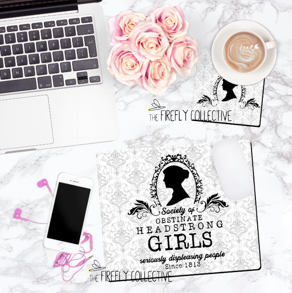 Society of Headstrong Obstinate Girls Pride & Prejudice Jane Austen Inspired Mouse Pad w/ Damask Background
