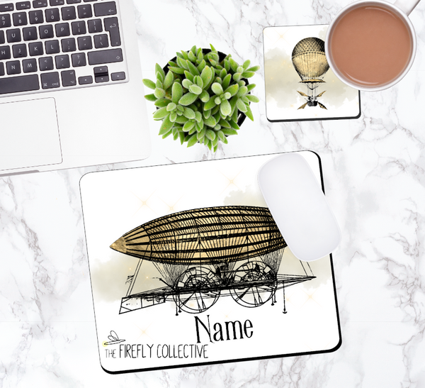Steampunk Air Ship Personalized Mouse Pad