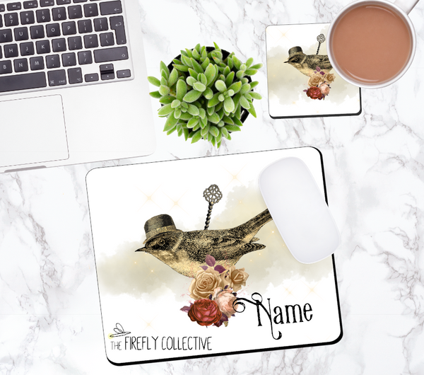 Steampunk Windup Bird with a Hat Personalized Mouse Pad