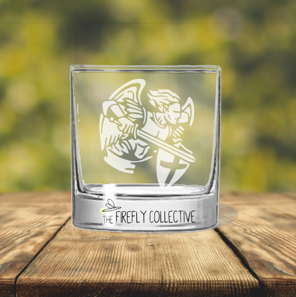 St. Michael Patron Saint of Police, Paratroopers & Military Laser Engraved 10 oz Rocks Glass