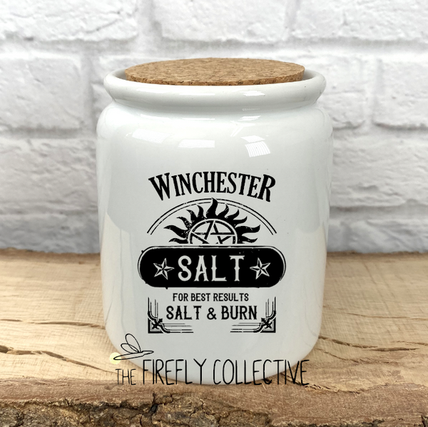 Winchester Salt Inspired by Supernatural Sublimated Treat Jar with Cork Lid