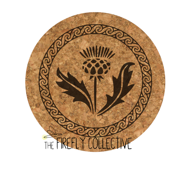 Scottish Celtic Thistle Laser Engraved Cork Trivet