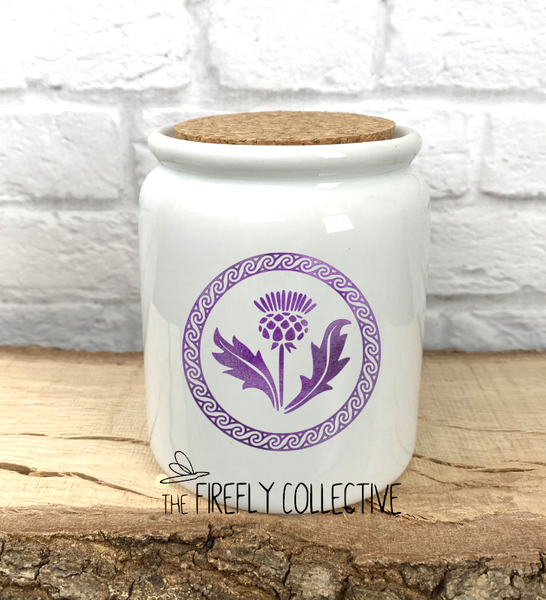 Scottish Thistle with Celtic Knot Circle Sublimated Treat Jar with Cork Lid