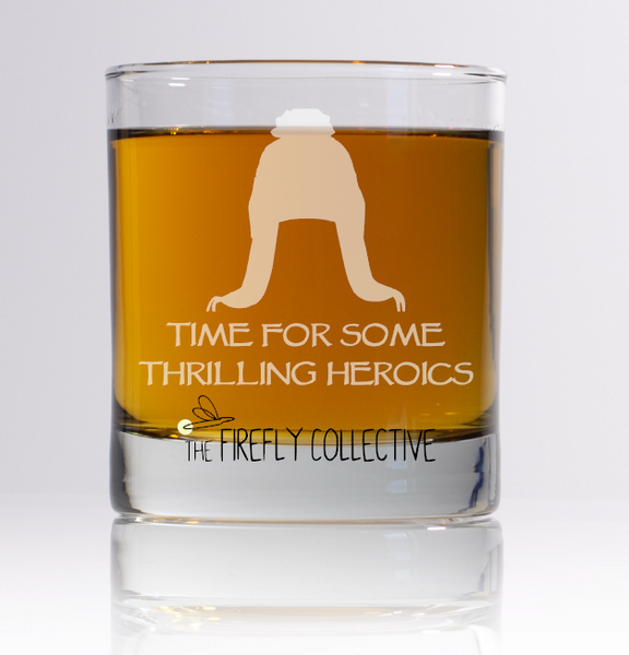 Time for Some Thrilling Heroics Firefly Serenity Inspired Laser Engraved Old Fashion/ Whiskey/ Rocks Glass - Browncoats, Jayne Hat, Cobb