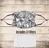 Faux Foil Non-Medical Mask with Black Straps & Filters Sublimated