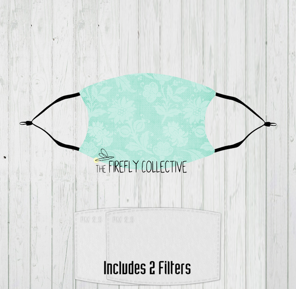 Faux Linen & Lace Mint Colored Non-Medical Mask with Black Straps & Filters Sublimated