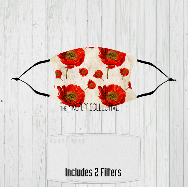 Vintage Poppies Non-Medical Mask with Black Straps & Filters Sublimated