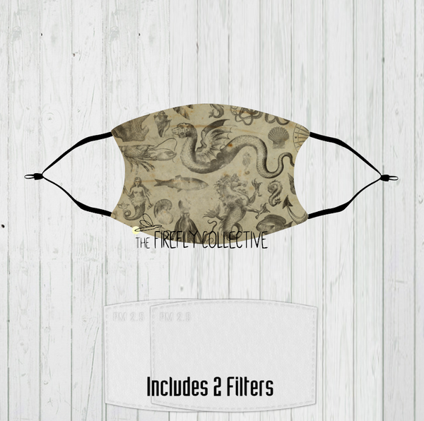 Vintage Nautical Sea Monster & Mermaid Non-Medical Mask with Black Straps & Filters Sublimated